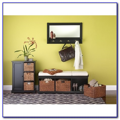 Entryway Bench With Storage Baskets Cushions