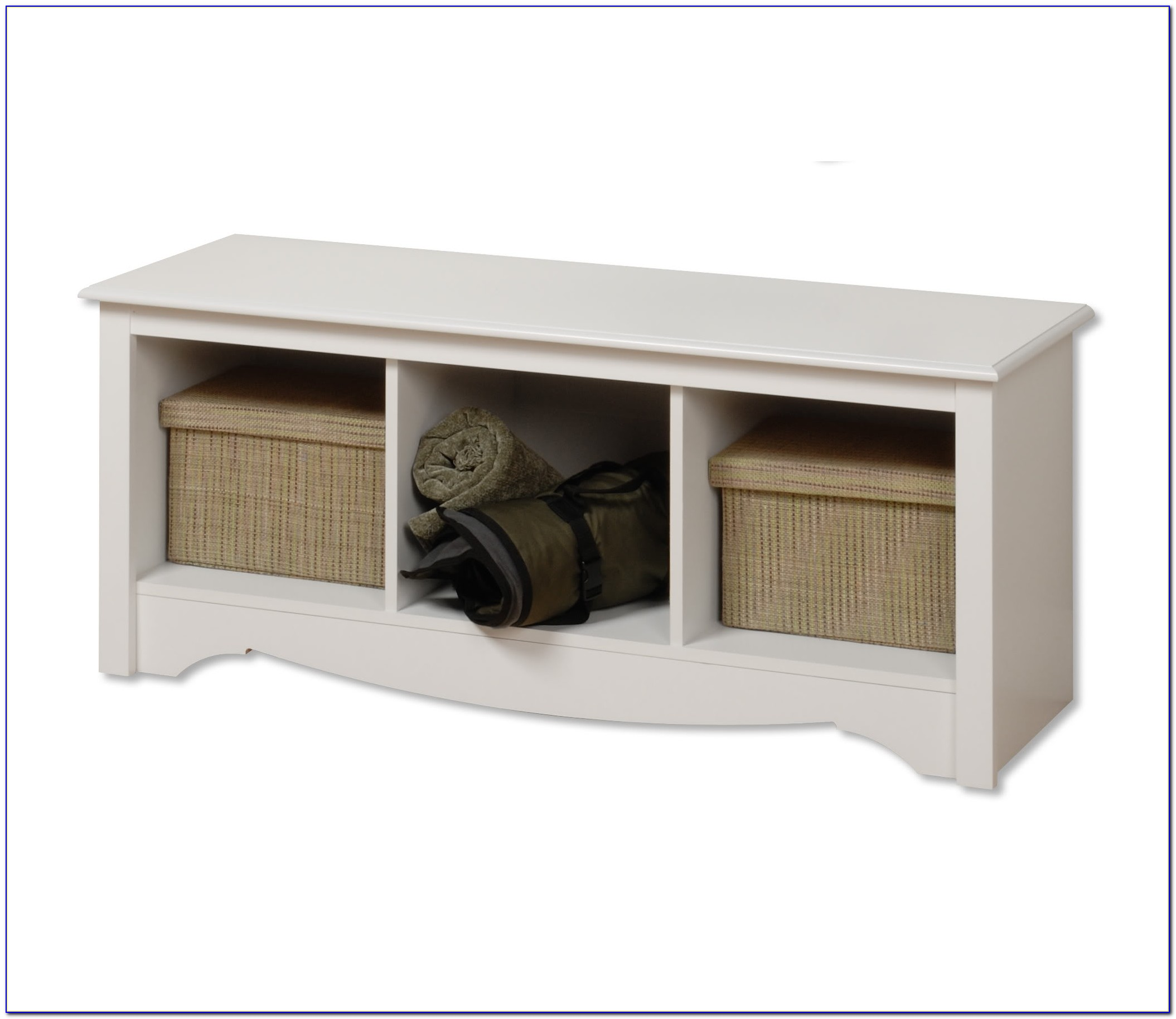 Espresso Storage Bench With Seat And Cubby Storage