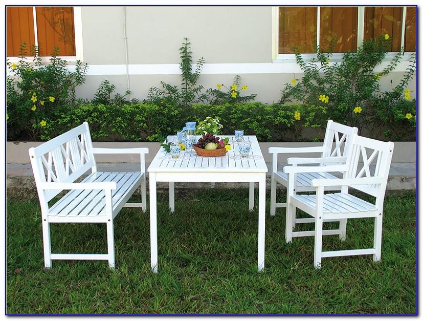Gartenmöbel Holz Weiß Lackiert