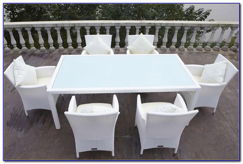 Gartenmöbel Polyrattan Weiß