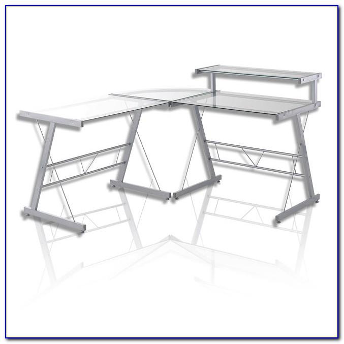 Glas Schreibtisch über Eck