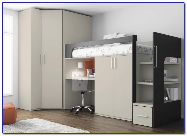 Halbhohes Bett Mit Schreibtisch Und Kleiderschrank