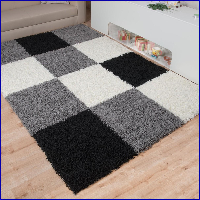 Hochflor Teppich Grau Braun