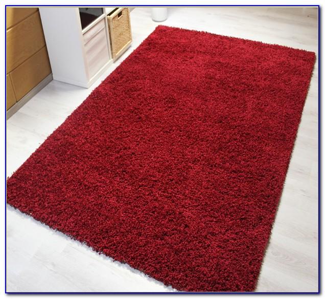 Hochflor Teppich Rot Grau