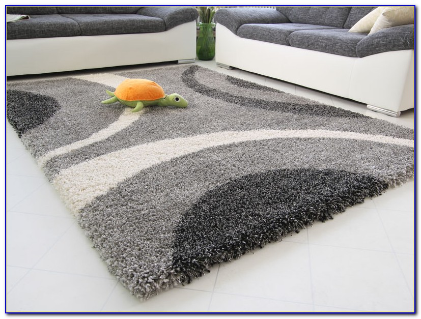 Hochflor Teppich Silber Grau