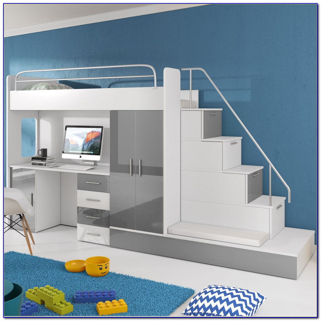 Kinderbett Mit Integriertem Schreibtisch