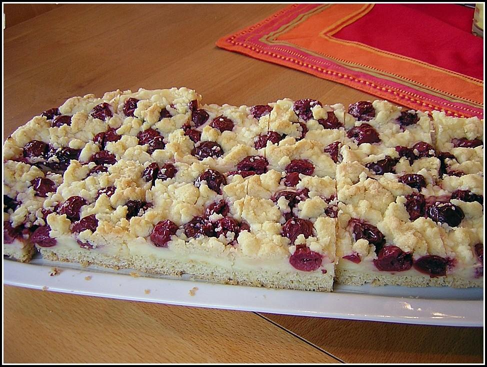 Kirsch Pudding Streusel Kuchen Rezept