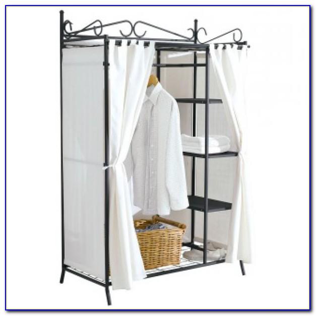 Kleiderschrank Mit Vorhang Offen