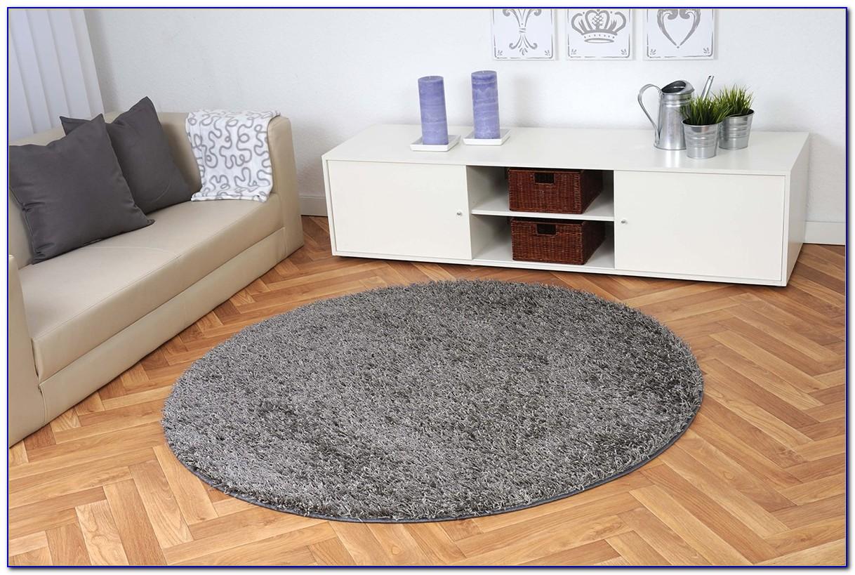 Kleiner Runder Teppich Grau