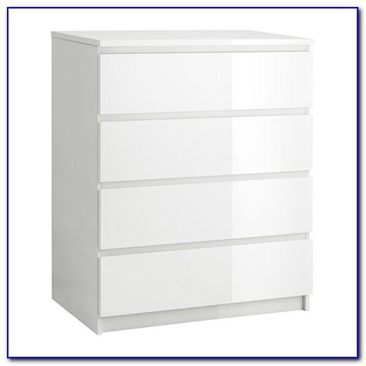 Kommode Hochglanz Weiß 5 Schubladen
