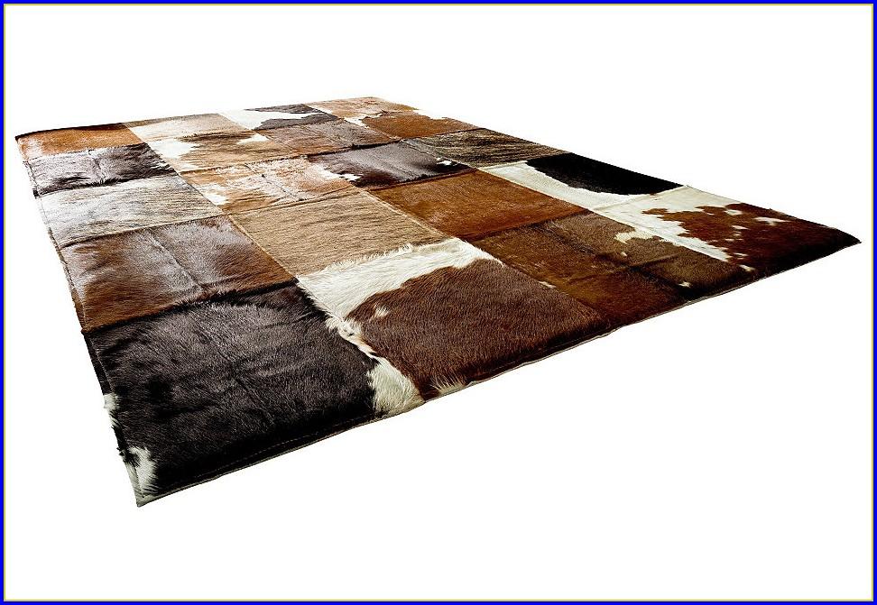 Kuhfell Teppich Imitat Schwarz