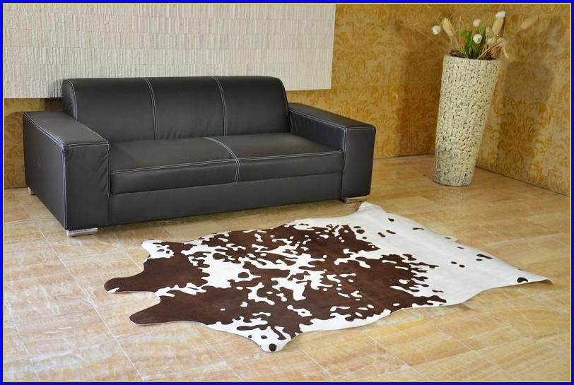 Kuhfell Teppich Imitat Weiß