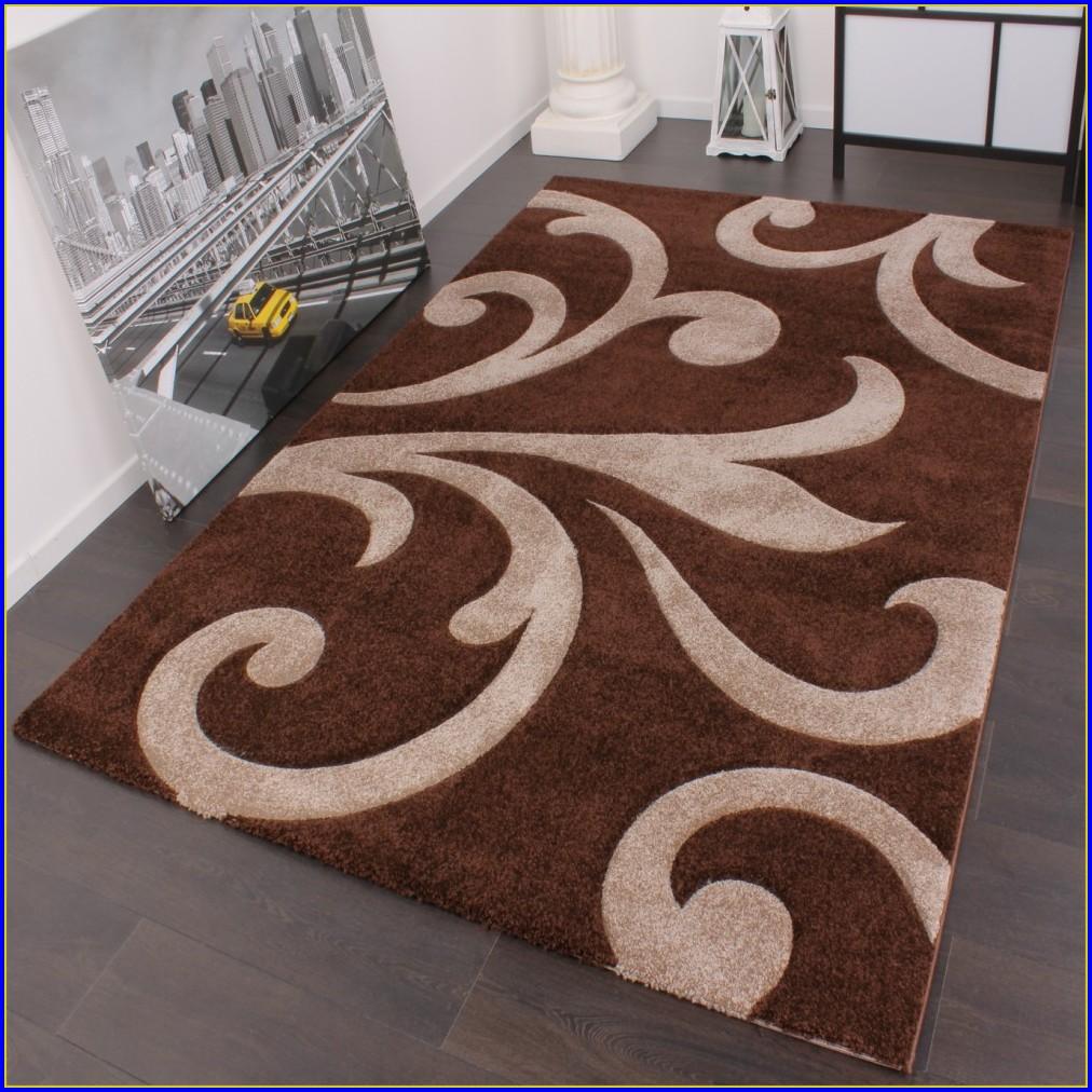 Langflor Teppich Braun Beige
