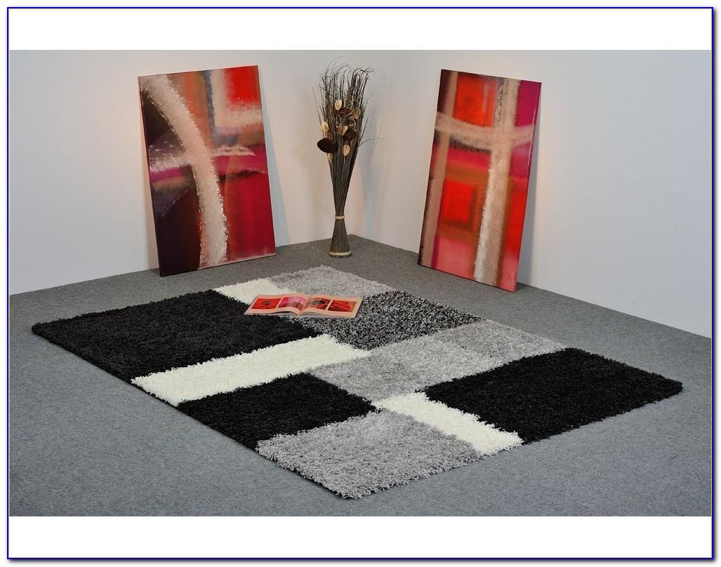 Langflor Teppich Grau Schwarz