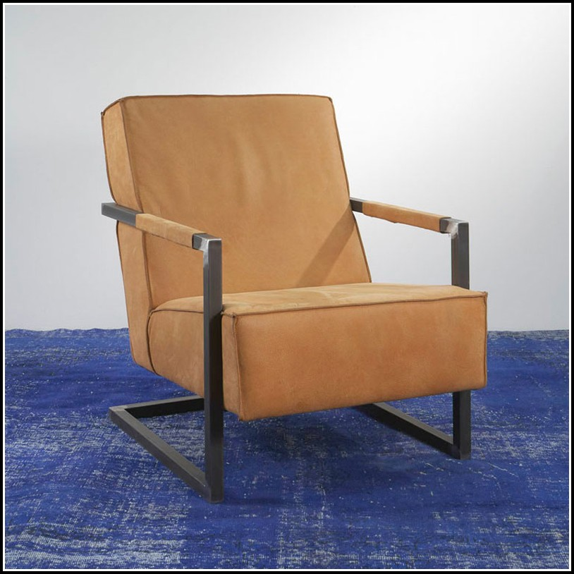 Lounge Sessel Kunstleder Braun