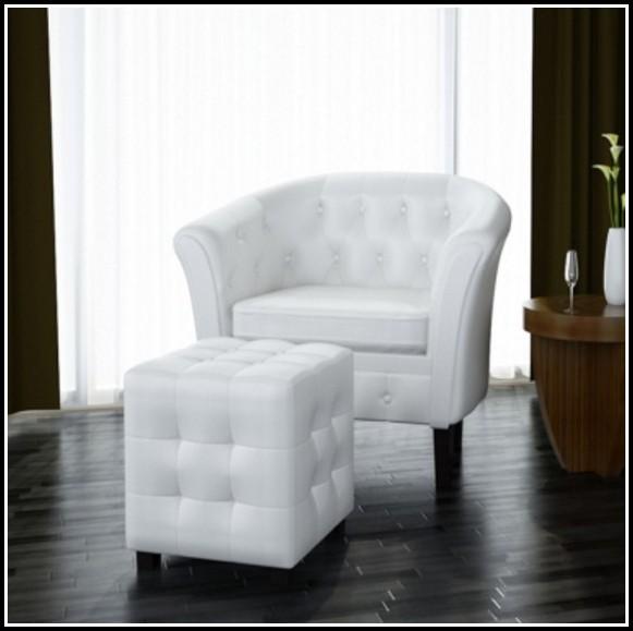 Lounge Sessel Weiß Leder