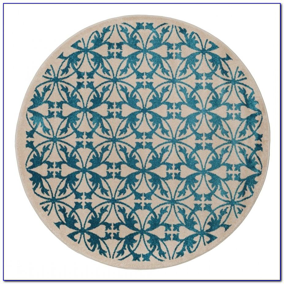 Nepal Teppich Rund Blau