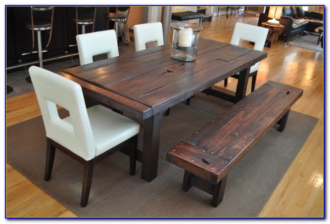 Rustic Dining Room Table Set With Bench