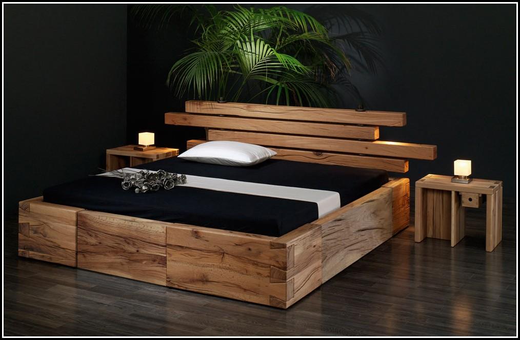 Schlafzimmer Eiche Rustikal Massiv Bett Kleiderschrank