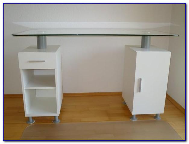 Schreibtisch Alu Milchglas