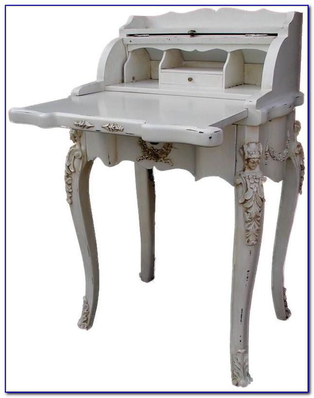 Schreibtisch Antik Weiß Gewischt
