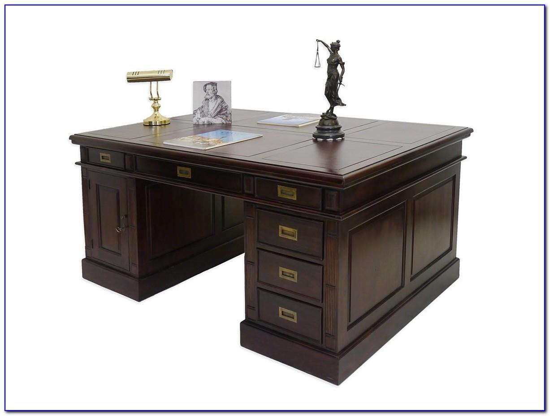 Schreibtisch Dunkelbraun Massiv