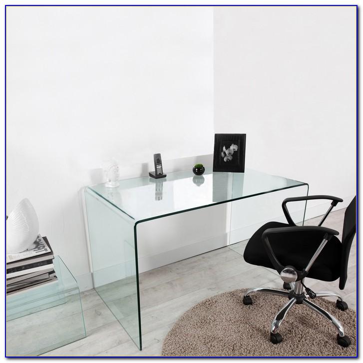 Schreibtisch Glas Metall Schwarz