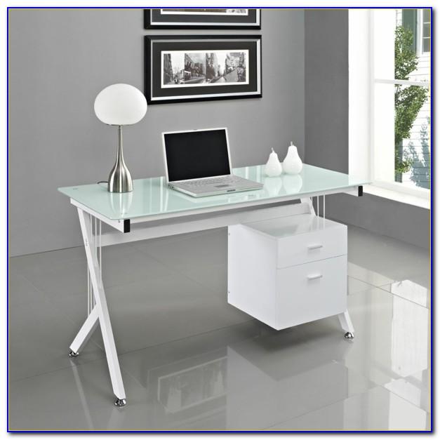 Schreibtisch Glas Weiß