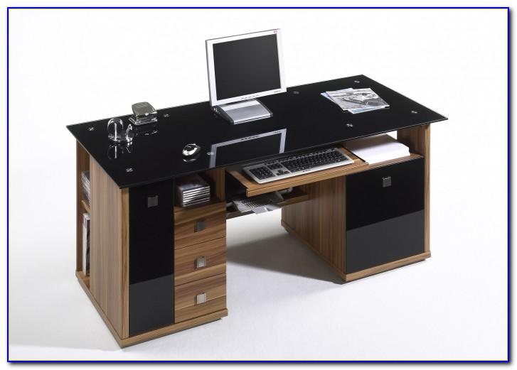 Schreibtisch Glasplatte Holzbeine