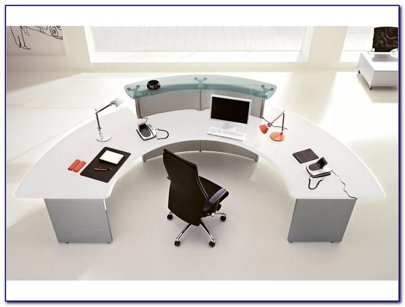 Schreibtisch Halbrund Weiß