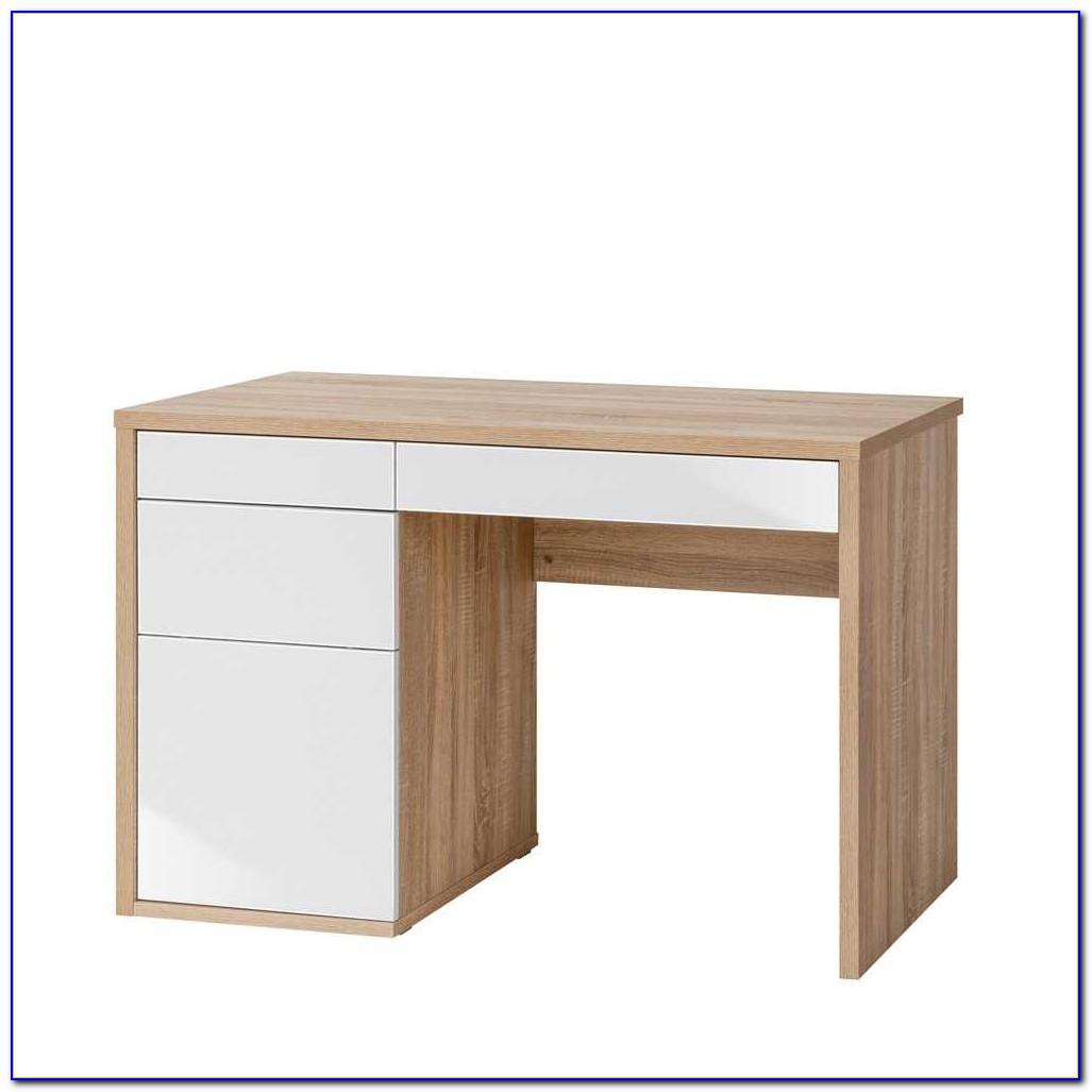 Schreibtisch Hochglanz Weiß Metallgestell
