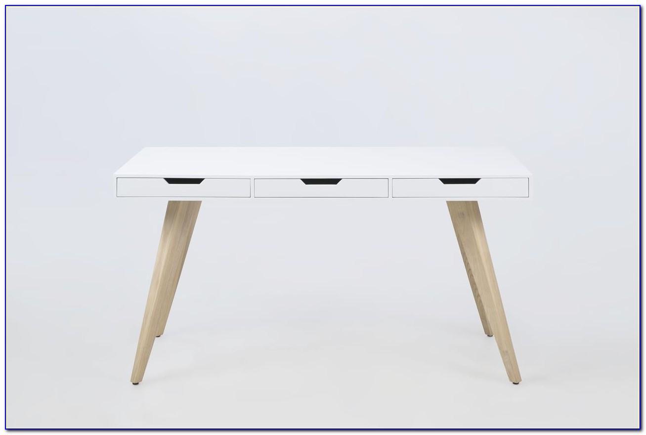 Schreibtisch Holz Weiß Lasiert