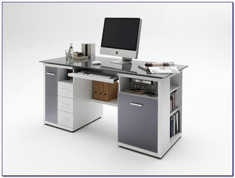 Schreibtisch Home Office Walnuss Glas Schwarz