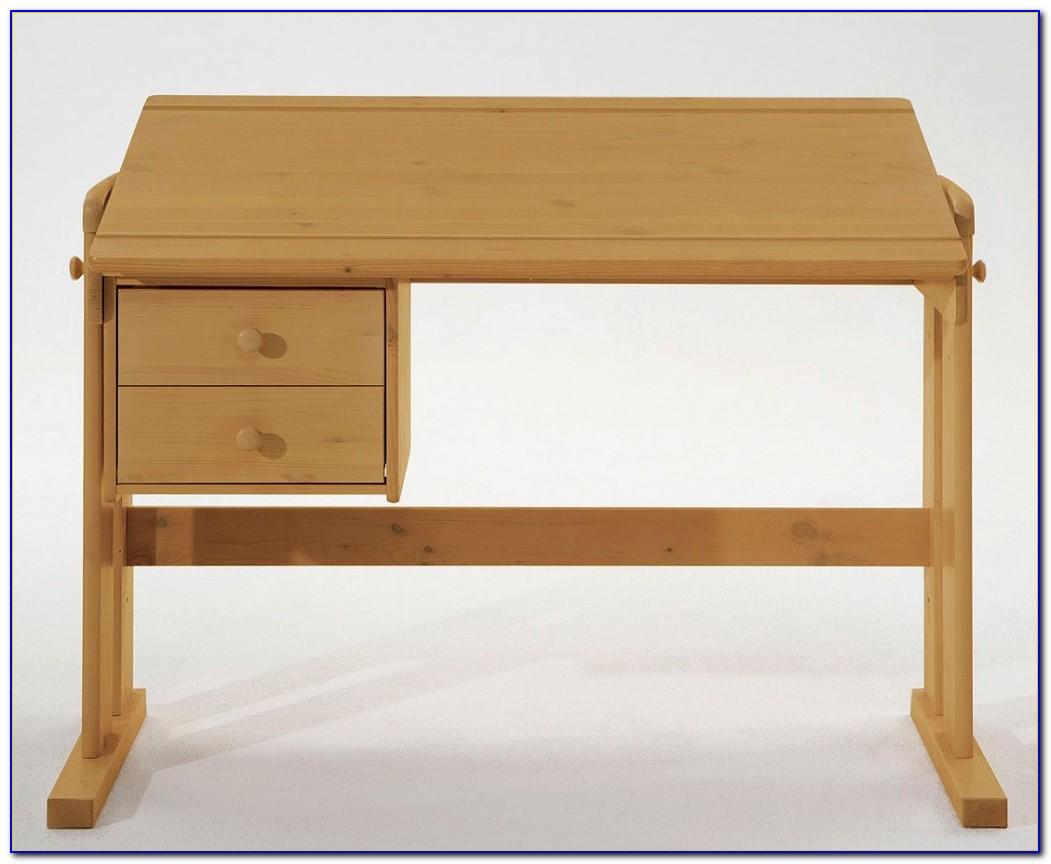 Schreibtisch Kiefer Gelaugt Geölt Höhenverstellbar