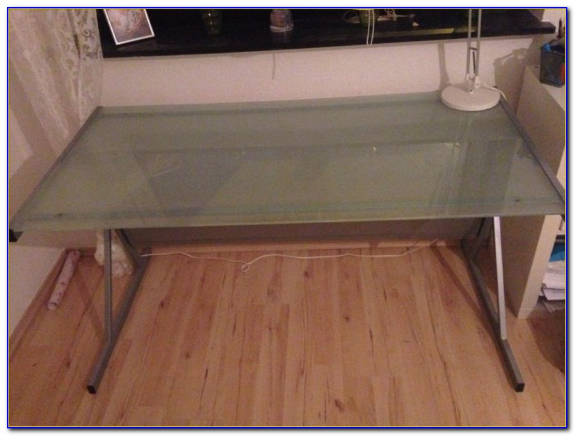 Schreibtisch Milchglasplatte