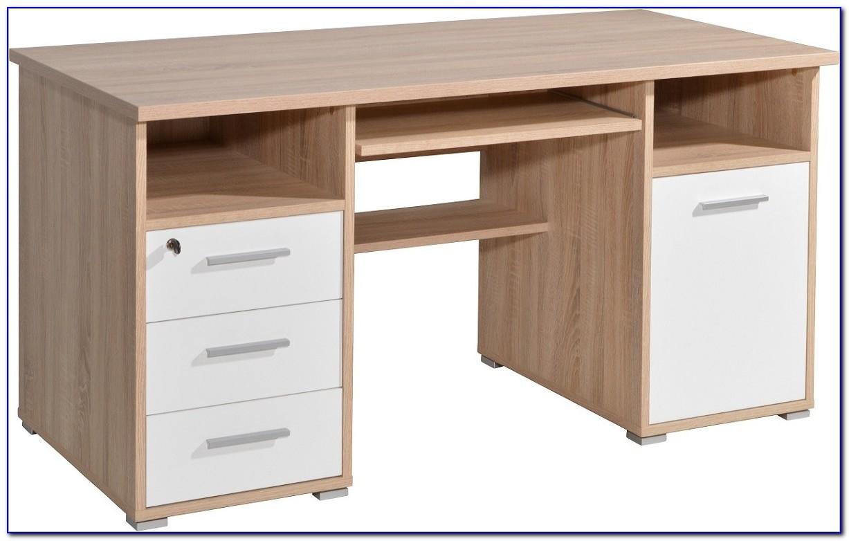 Schreibtisch Mit Tastaturauszug Weiß