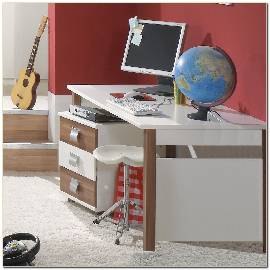 Schreibtisch Nussbaum Merano Weiß 1001