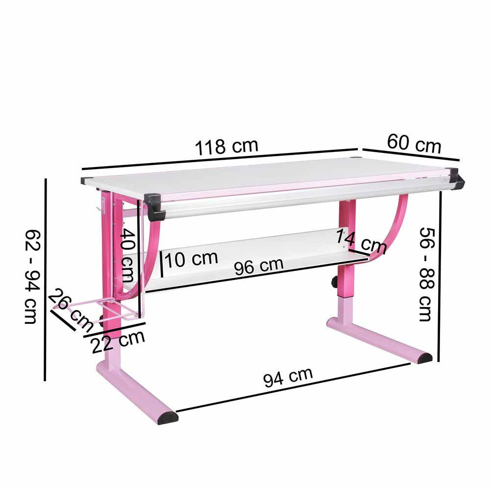 Schreibtisch Pink Weiß