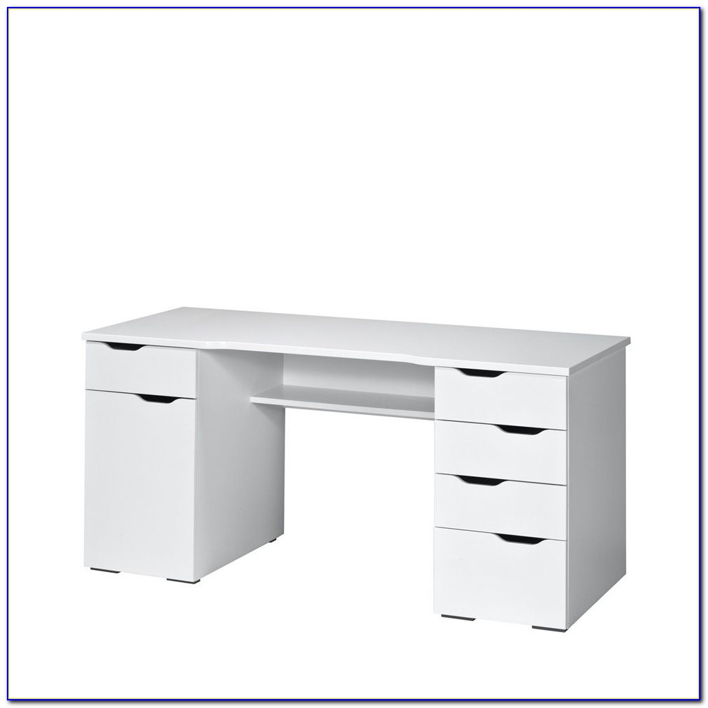 Schreibtisch Weiß Hochglanz 140