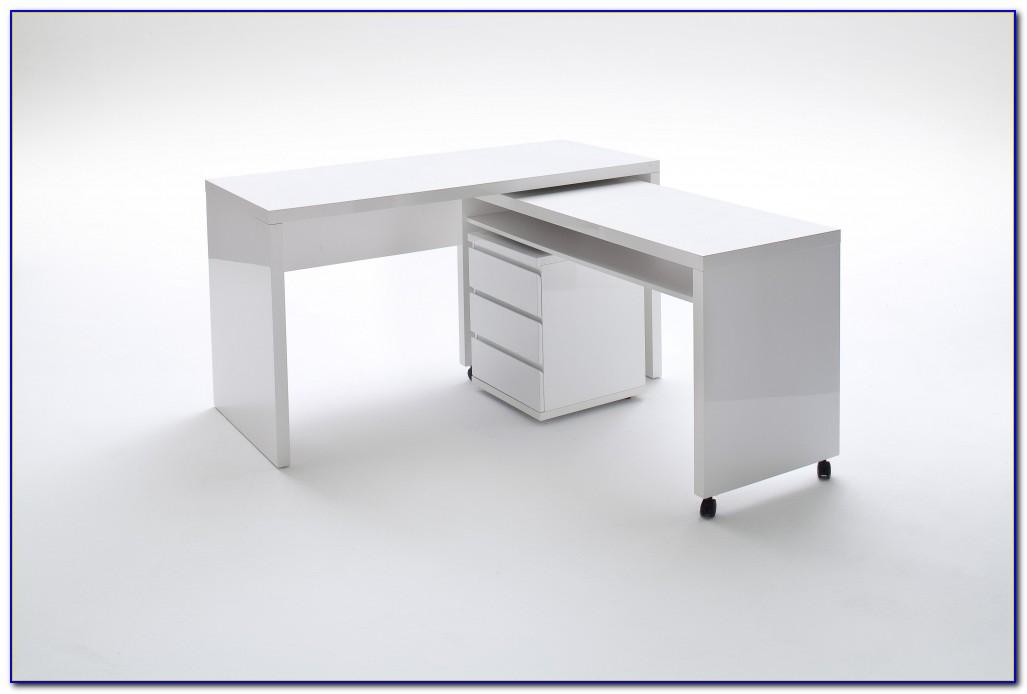 Schreibtisch Weiß Hochglanz Schwenkbar