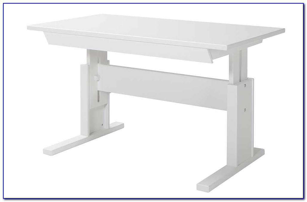 Schreibtisch Weiß Holz Höhenverstellbar