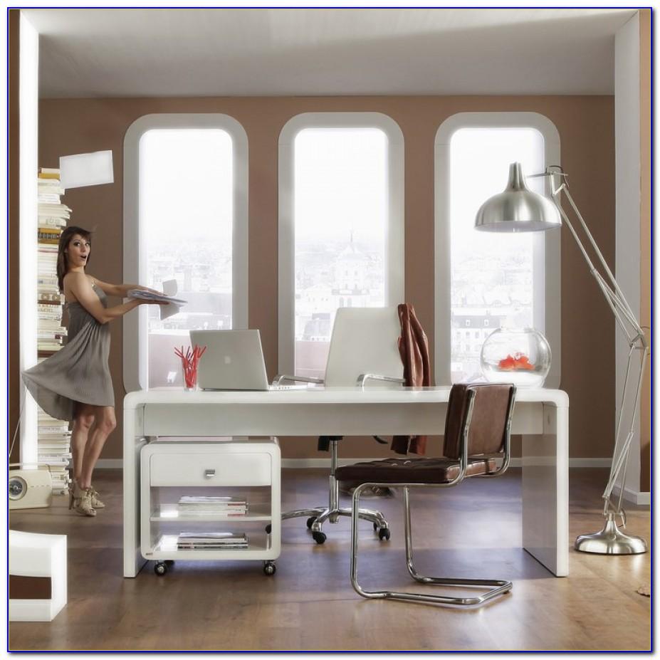 Schreibtisch White Club Snake In Hochglanz Weiß