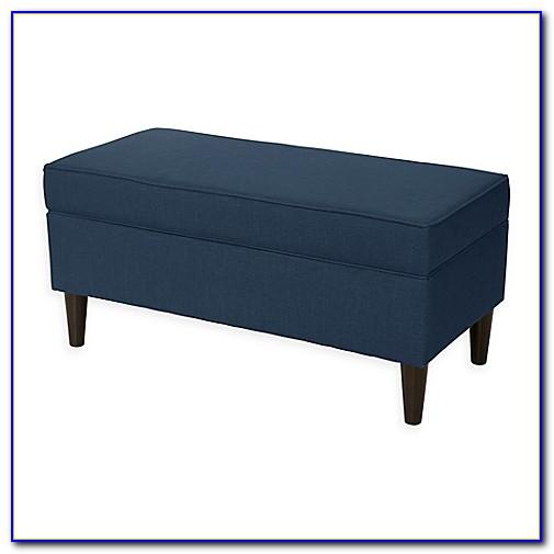 Skyline Furniture Walnut Hill Storage Bench In Diamonds Blue Fabric