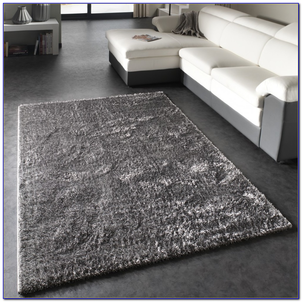Teppich Hochflor Grau Rund