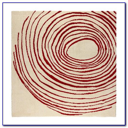 Teppich Rund Rot Hochflor