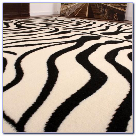 Teppich Schwarz Weiß Streifen