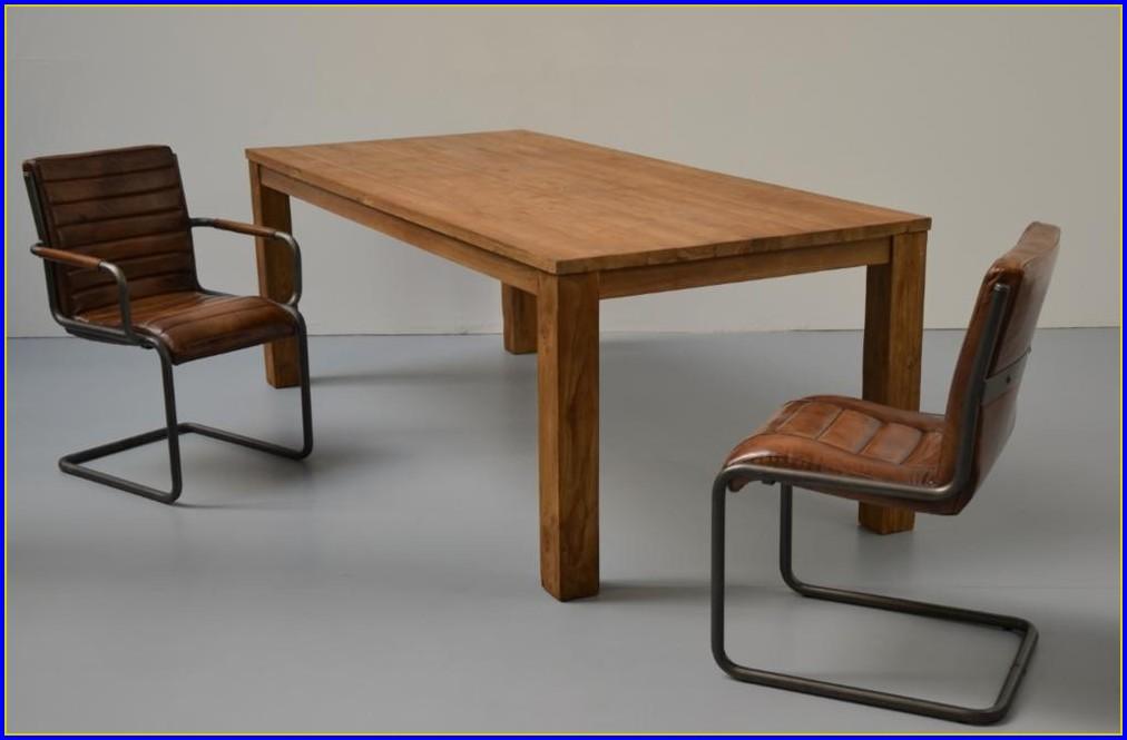 Tisch Holz Edelstahl Ausziehbar