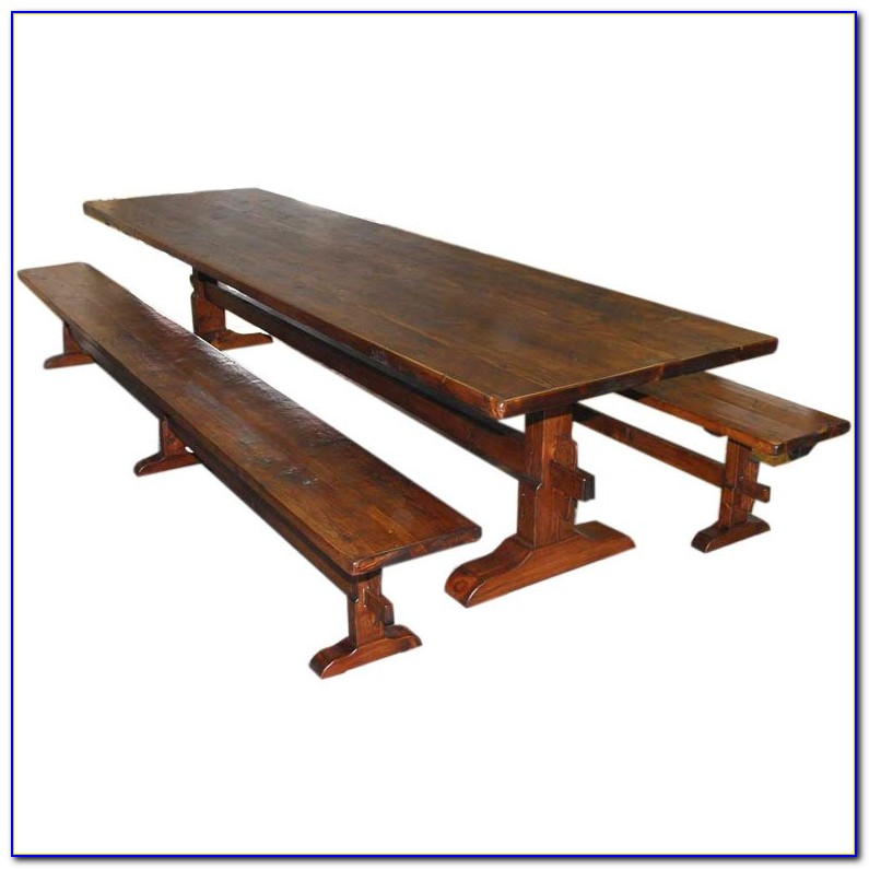 Trestle Dining Table With Benches