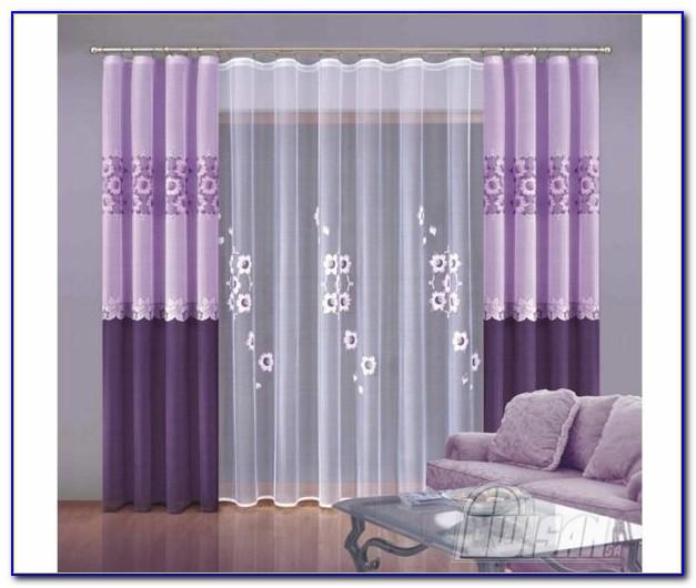 Vorhang Lila Grau