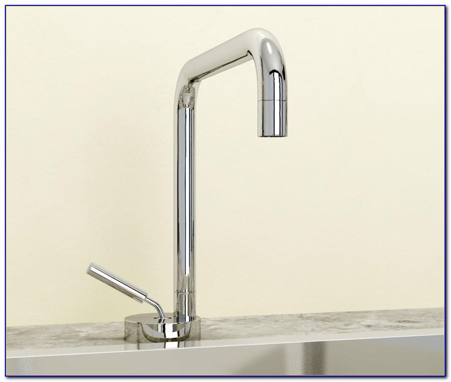 Wandarmatur Wasserhahn Küche Bad Zweigriff Mischer Spültisch Waschbecken